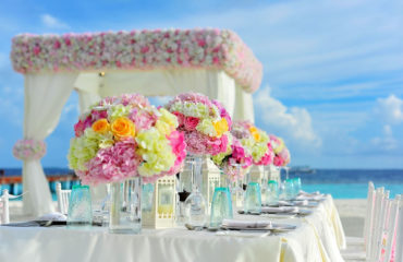 Table mariage bouquet plage